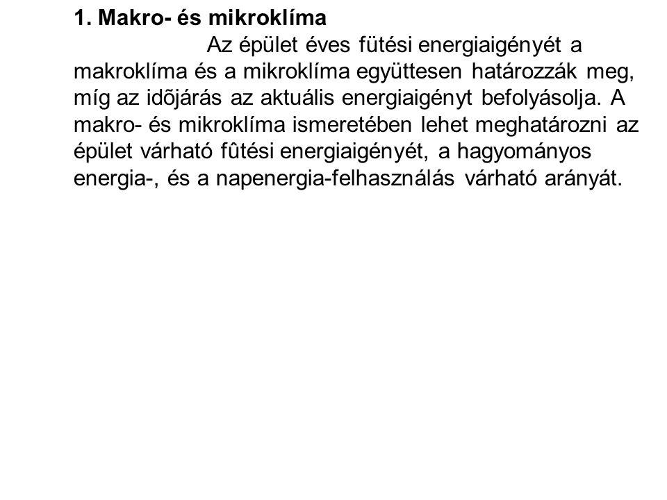 1. Makro- és mikroklíma Az épület éves fütési energiaigényét a makroklíma és a mikroklíma együttesen határozzák meg, míg az idõjárás az aktuális energ