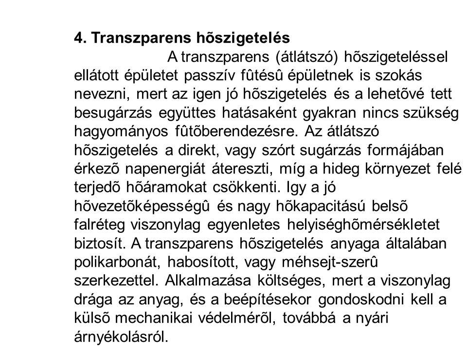 4. Transzparens hõszigetelés A transzparens (átlátszó) hõszigeteléssel ellátott épületet passzív fûtésû épületnek is szokás nevezni, mert az igen jó h