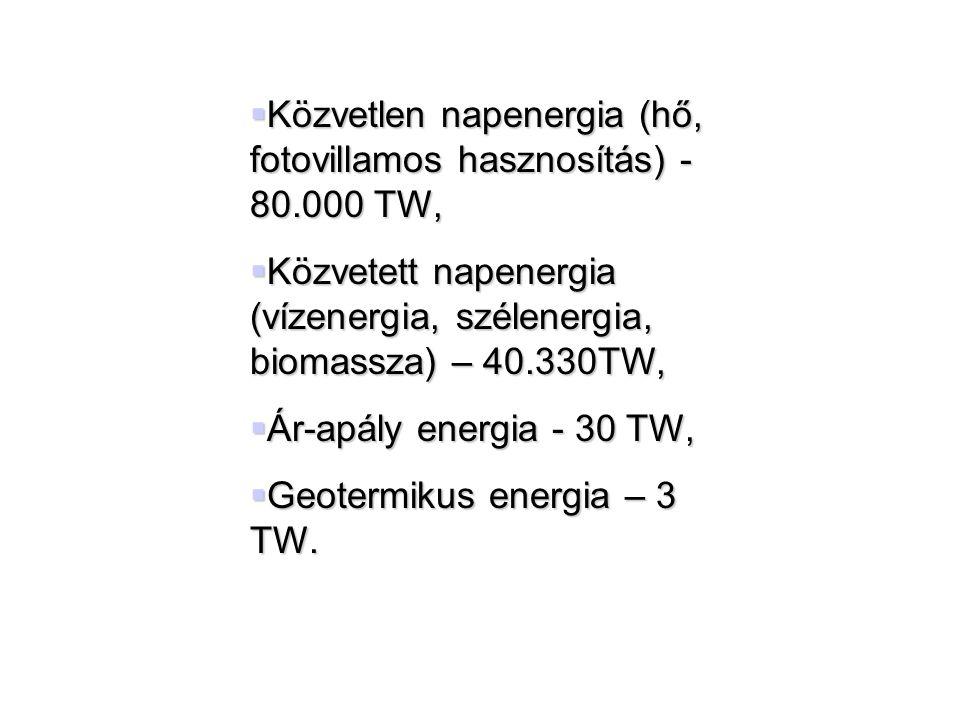  Közvetlen napenergia (hő, fotovillamos hasznosítás) - 80.000 TW,  Közvetett napenergia (vízenergia, szélenergia, biomassza) – 40.330TW,  Ár-apály