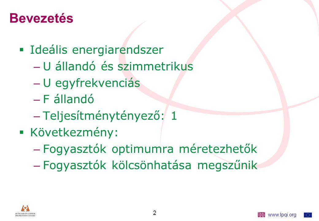www.lpqi.org 2 Bevezetés  Ideális energiarendszer – U állandó és szimmetrikus – U egyfrekvenciás – F állandó – Teljesítménytényező: 1  Következmény: – Fogyasztók optimumra méretezhetők – Fogyasztók kölcsönhatása megszűnik