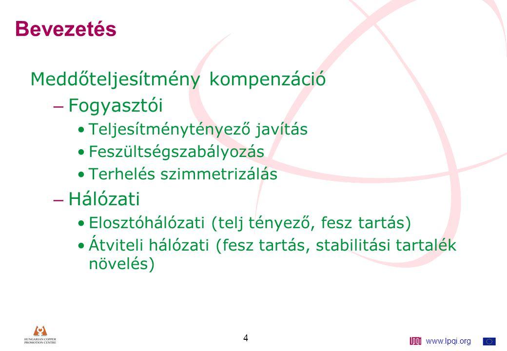 www.lpqi.org 4 Bevezetés Meddőteljesítmény kompenzáció – Fogyasztói Teljesítménytényező javítás Feszültségszabályozás Terhelés szimmetrizálás – Hálózati Elosztóhálózati (telj tényező, fesz tartás) Átviteli hálózati (fesz tartás, stabilitási tartalék növelés)