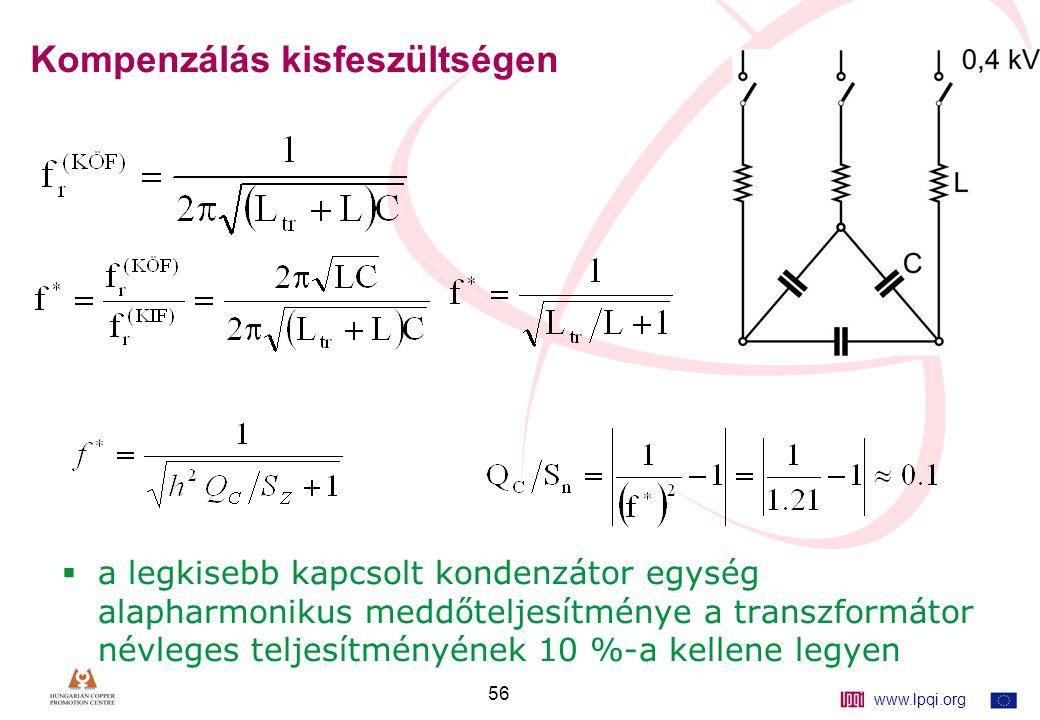 www.lpqi.org 56 Kompenzálás kisfeszültségen  a legkisebb kapcsolt kondenzátor egység alapharmonikus meddőteljesítménye a transzformátor névleges teljesítményének 10 %-a kellene legyen