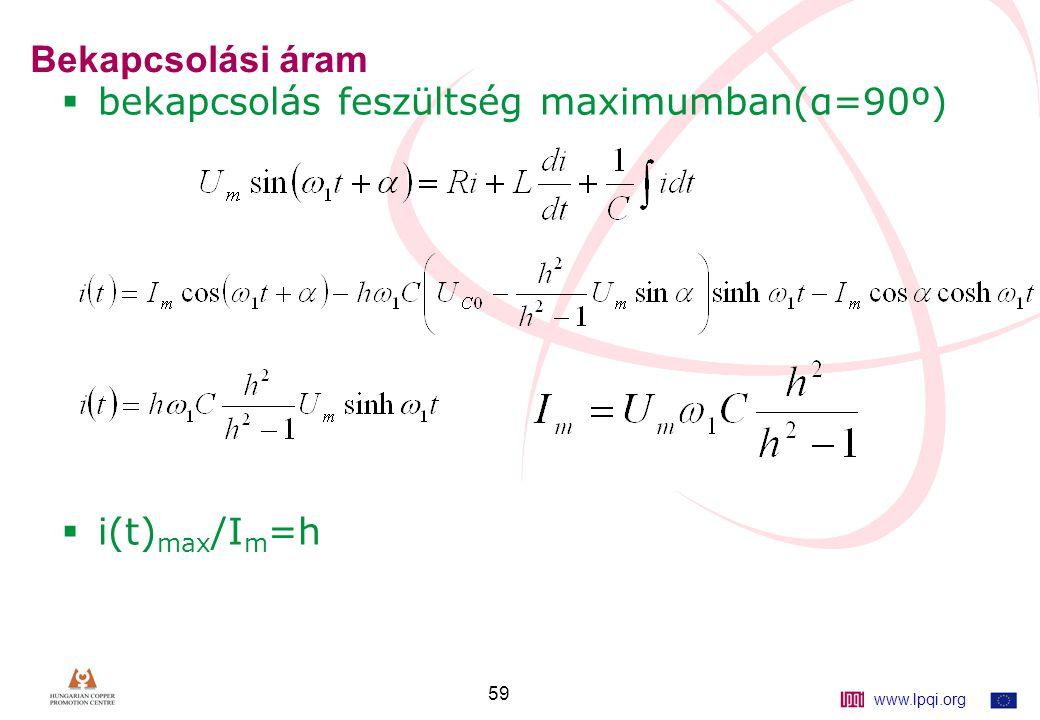 www.lpqi.org 59 Bekapcsolási áram  bekapcsolás feszültség maximumban(α=90º)  i(t) max /I m =h