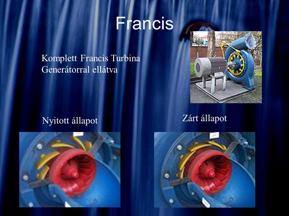 Francis Komplett Francis Turbina Generátorral ellátva Nyitott állapot Zárt állapot