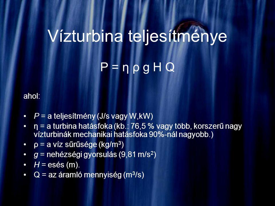 Vízturbina teljesítménye P = η ρ g H Q ahol: P = a teljesítmény (J/s vagy W,kW) η = a turbina hatásfoka (kb.: 76,5 % vagy több, korszerű nagy vízturbi