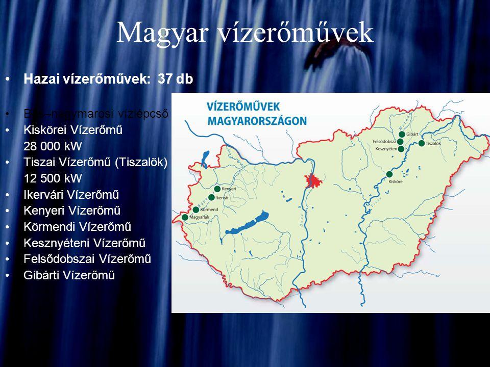 Magyar vízerőművek Hazai vízerőművek: 37 db Bős–nagymarosi vízlépcső Kiskörei Vízerőmű 28 000 kW Tiszai Vízerőmű (Tiszalök) 12 500 kW Ikervári Vízerőm