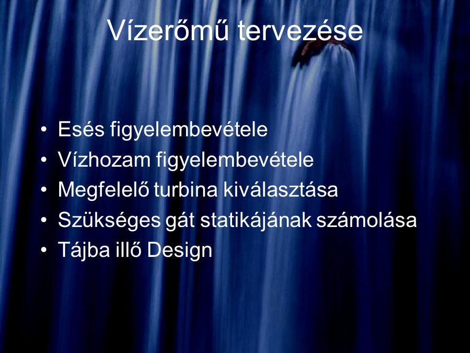 Vízerőmű tervezése Esés figyelembevétele Vízhozam figyelembevétele Megfelelő turbina kiválasztása Szükséges gát statikájának számolása Tájba illő Desi