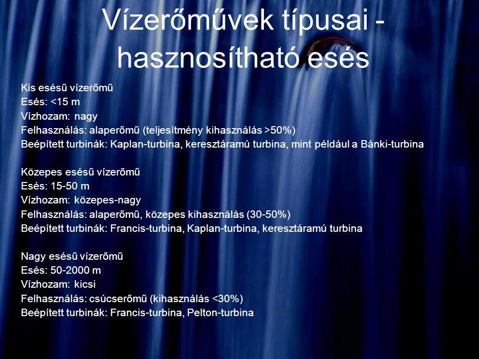 Vízerőművek típusai - hasznosítható esés Kis esésű vízerőmű Esés: <15 m Vízhozam: nagy Felhasználás: alaperőmű (teljesítmény kihasználás >50%) Beépíte