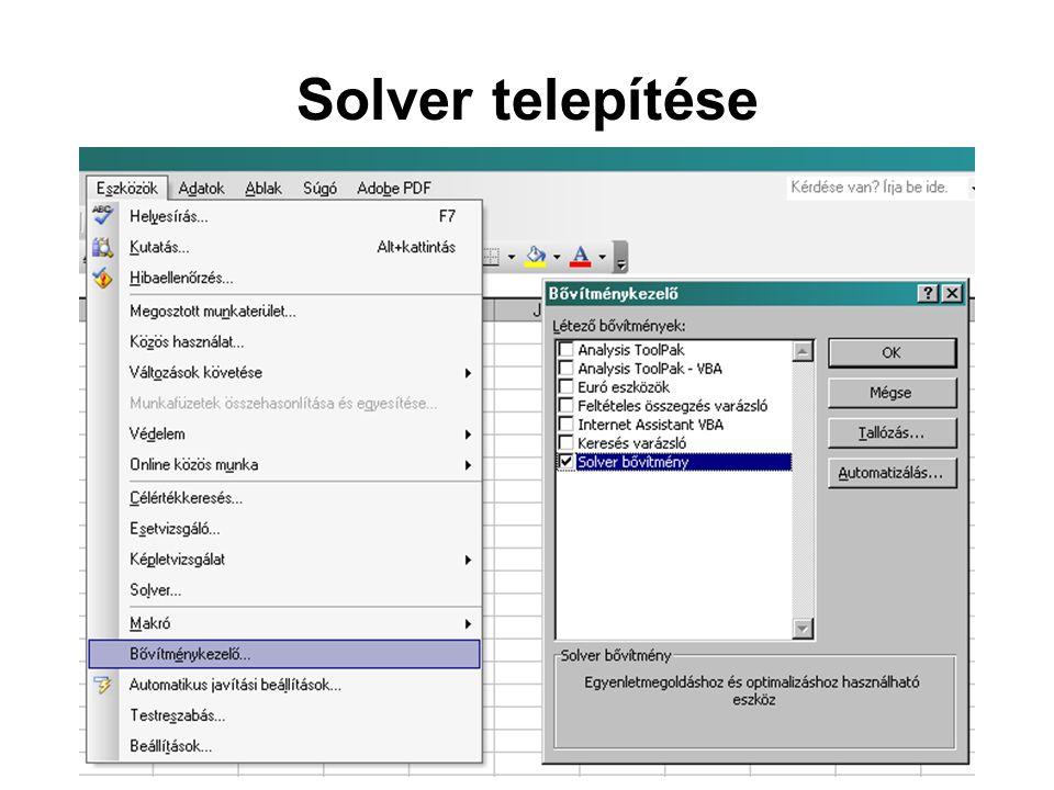 Solver telepítése