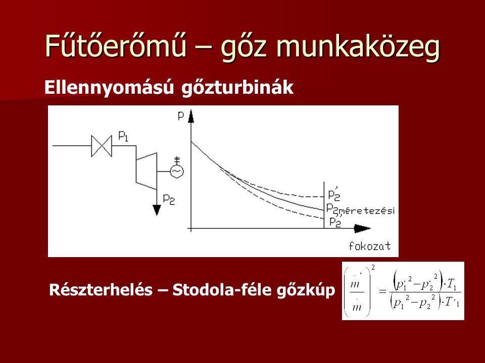 Fűtőerőmű – gőz munkaközeg Ellennyomású gőzturbinák Részterhelés – Stodola-féle gőzkúp