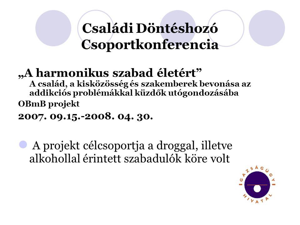 """Családi Döntéshozó Csoportkonferencia """"A harmonikus szabad életért A család, a kisközösség és szakemberek bevonása az addikciós problémákkal küzdők utógondozásába OBmB projekt 2007."""