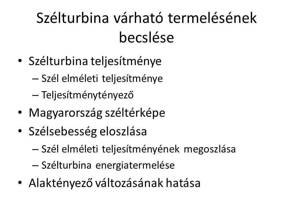 Szélturbina várható termelésének becslése Szélturbina teljesítménye – Szél elméleti teljesítménye – Teljesítménytényező Magyarország széltérképe Széls