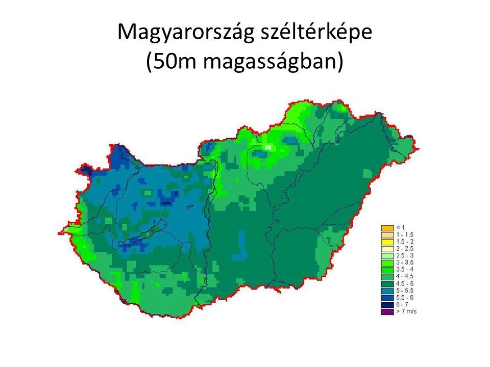 Magyarország széltérképe (50m magasságban)