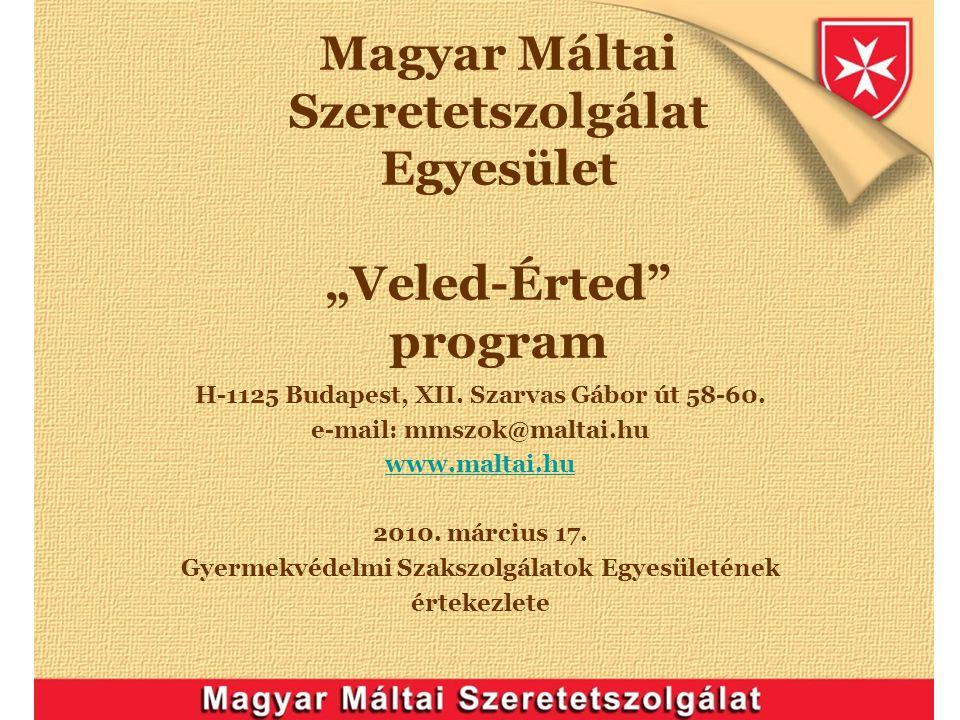 """Magyar Máltai Szeretetszolgálat Egyesület """"Veled-Érted"""" program H-1125 Budapest, XII. Szarvas Gábor út 58-60. e-mail: mmszok@maltai.hu www.maltai.hu 2"""