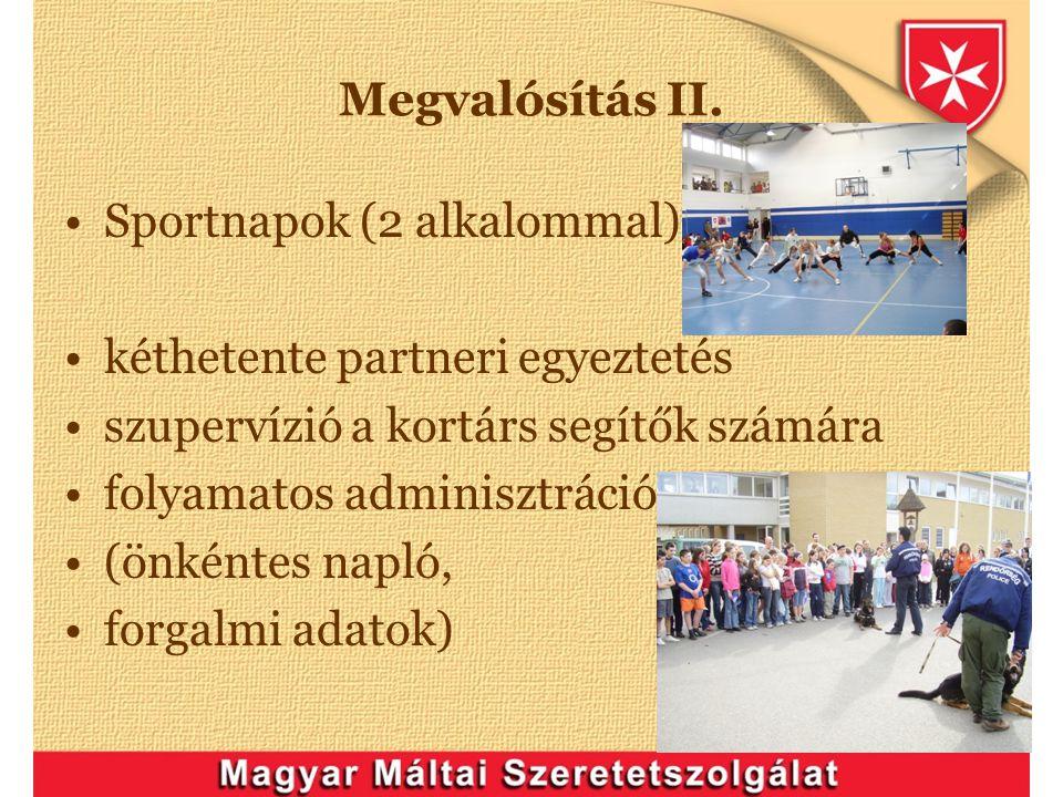 Megvalósítás II. Sportnapok (2 alkalommal) kéthetente partneri egyeztetés szupervízió a kortárs segítők számára folyamatos adminisztráció (önkéntes na