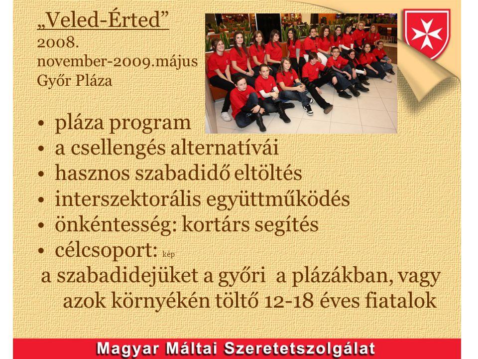 """""""Veled-Érted"""" 2008. november-2009.május Győr Pláza pláza program a csellengés alternatívái hasznos szabadidő eltöltés interszektorális együttműködés ö"""