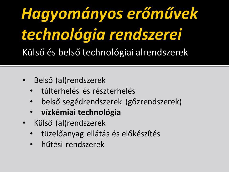 Külső és belső technológiai alrendszerek Belső (al)rendszerek túlterhelés és részterhelés belső segédrendszerek (gőzrendszerek) vízkémiai technológia Külső (al)rendszerek tüzelőanyag ellátás és előkészítés hűtési rendszerek