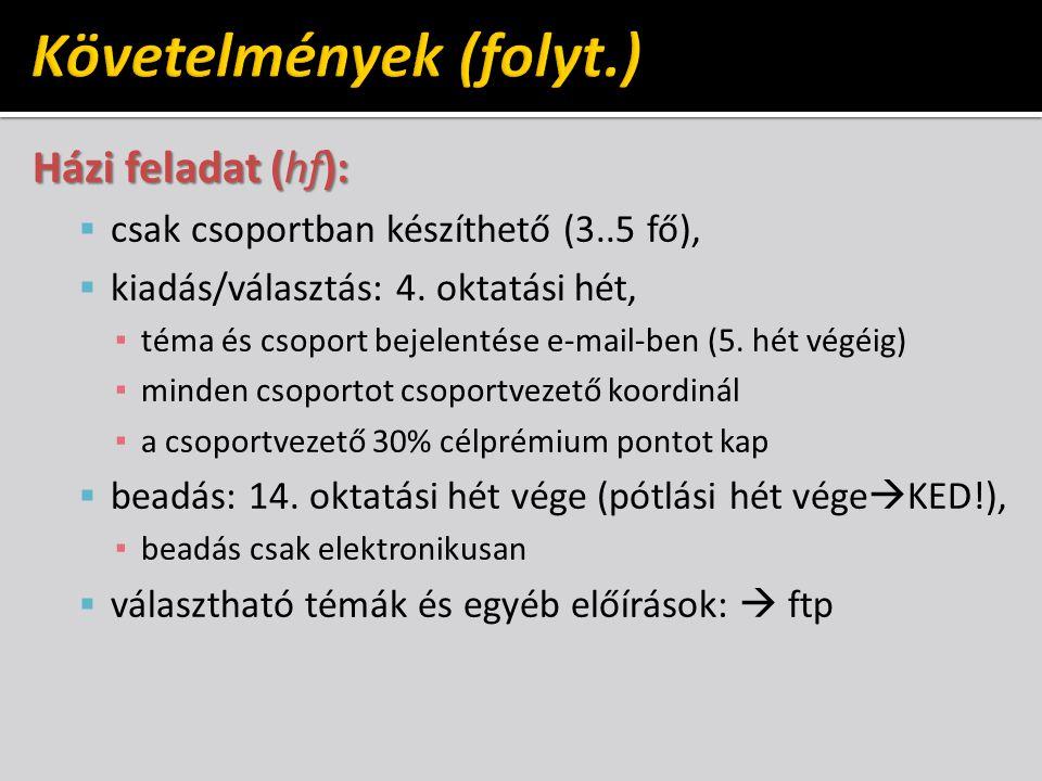 Házi feladat (hf):  csak csoportban készíthető (3..5 fő),  kiadás/választás: 4.