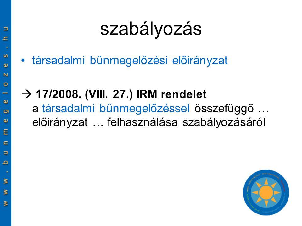 szabályozás társadalmi bűnmegelőzési előirányzat  17/2008.