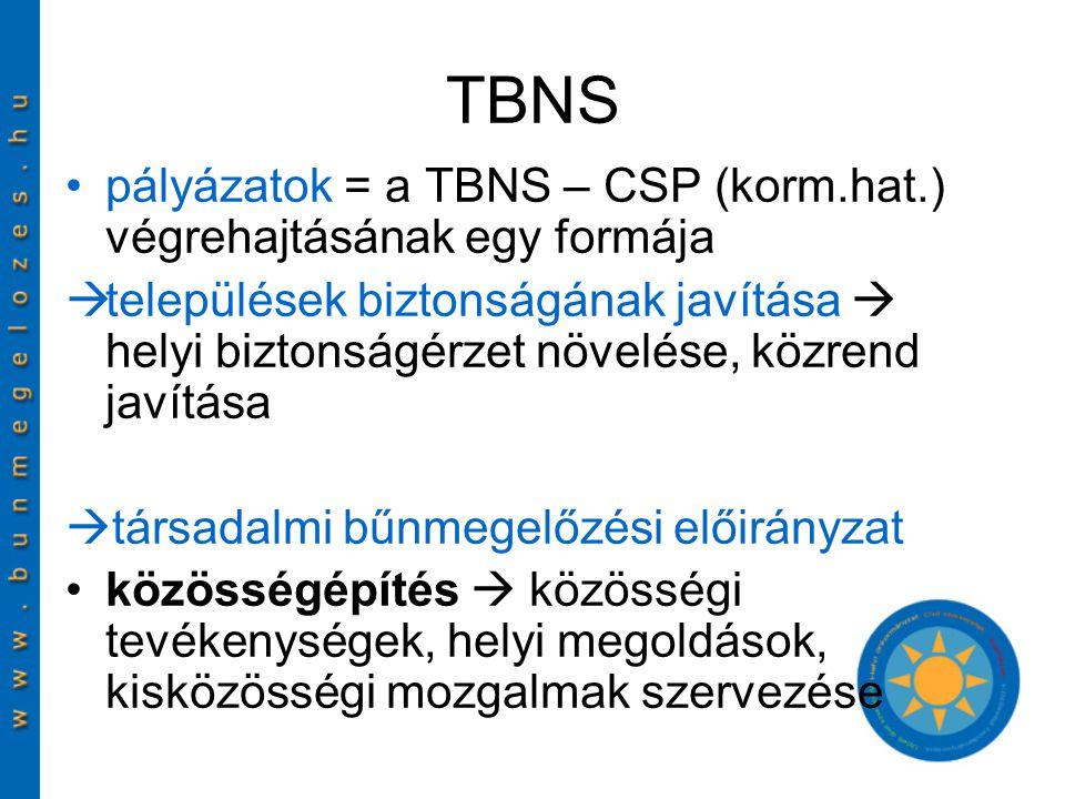TBNS pályázatok = a TBNS – CSP (korm.hat.) végrehajtásának egy formája  települések biztonságának javítása  helyi biztonságérzet növelése, közrend javítása  társadalmi bűnmegelőzési előirányzat közösségépítés  közösségi tevékenységek, helyi megoldások, kisközösségi mozgalmak szervezése