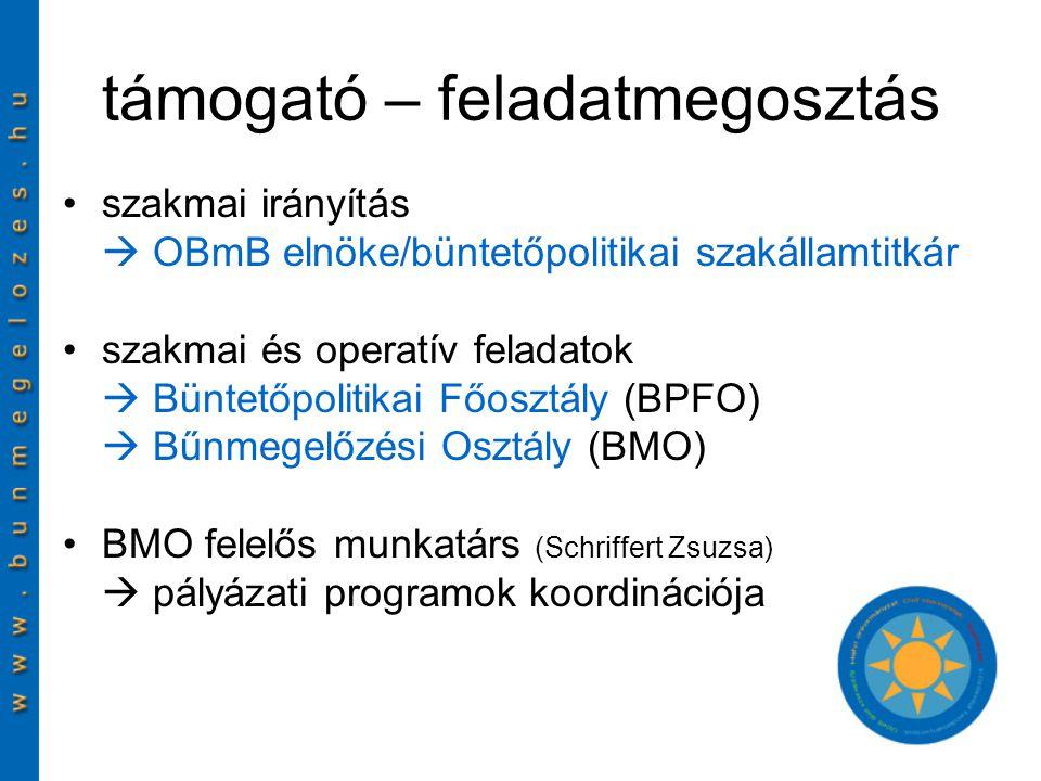 támogató – feladatmegosztás szakmai irányítás  OBmB elnöke/büntetőpolitikai szakállamtitkár szakmai és operatív feladatok  Büntetőpolitikai Főosztály (BPFO)  Bűnmegelőzési Osztály (BMO) BMO felelős munkatárs (Schriffert Zsuzsa)  pályázati programok koordinációja