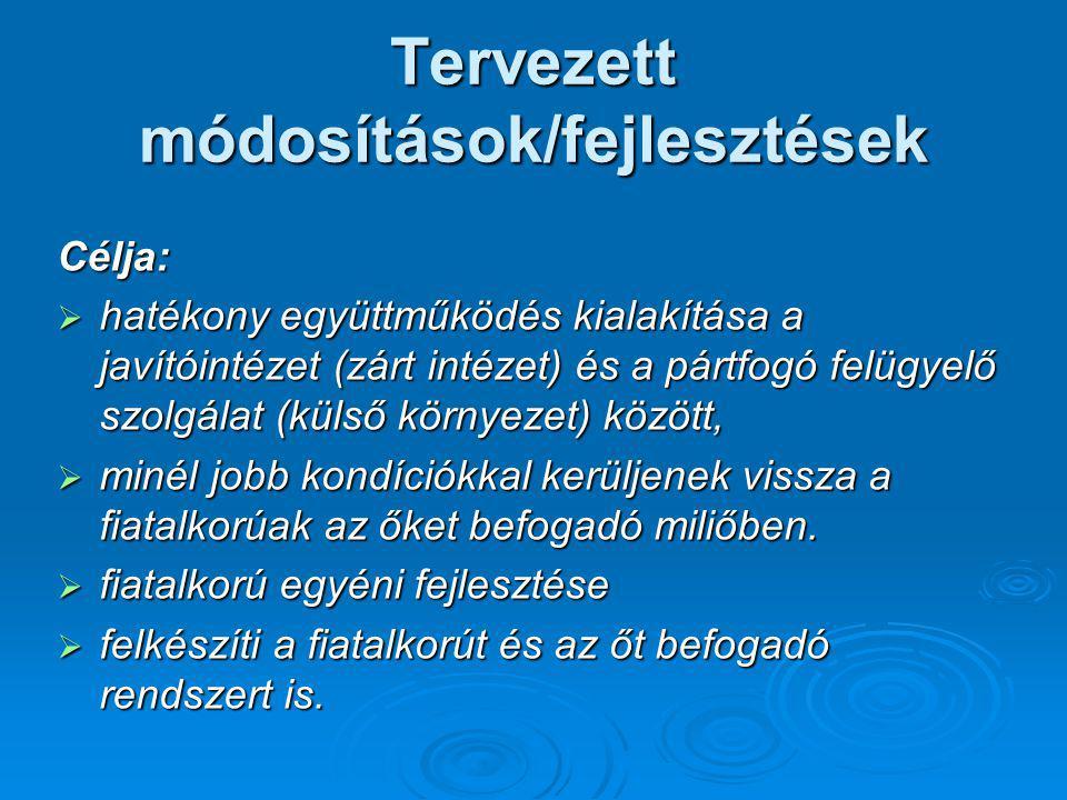 Tervezett módosítások/fejlesztések Célja:  hatékony együttműködés kialakítása a javítóintézet (zárt intézet) és a pártfogó felügyelő szolgálat (külső
