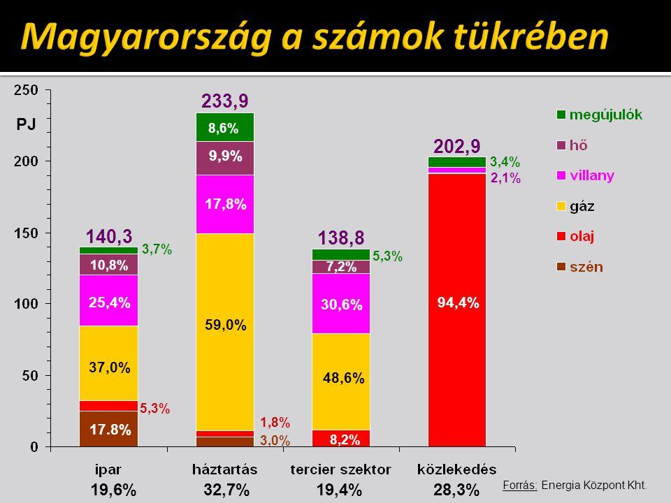 140,3 233,9 138,8 202,9 9,9% 7,2% 94,4% 10,8% 17,8% 30,6% 17.8% 59,0% 48,6% 8,6% 1,8% 5,3% 3,4% 3,0% 8,2% 19,6% 32,7% 19,4% 28,3% PJ Forrás: Energia Központ Kht.
