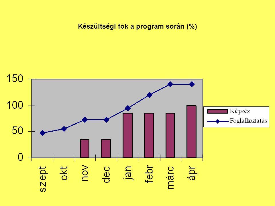Készültségi fok a program során (%)