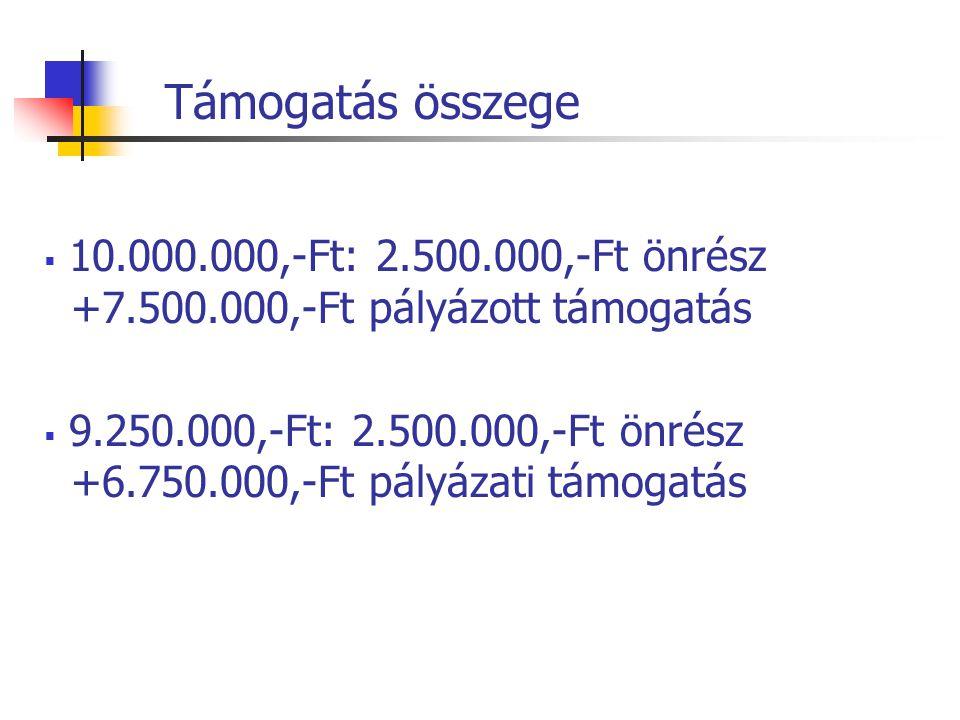 Támogatás összege  10.000.000,-Ft: 2.500.000,-Ft önrész +7.500.000,-Ft pályázott támogatás  9.250.000,-Ft: 2.500.000,-Ft önrész +6.750.000,-Ft pályázati támogatás
