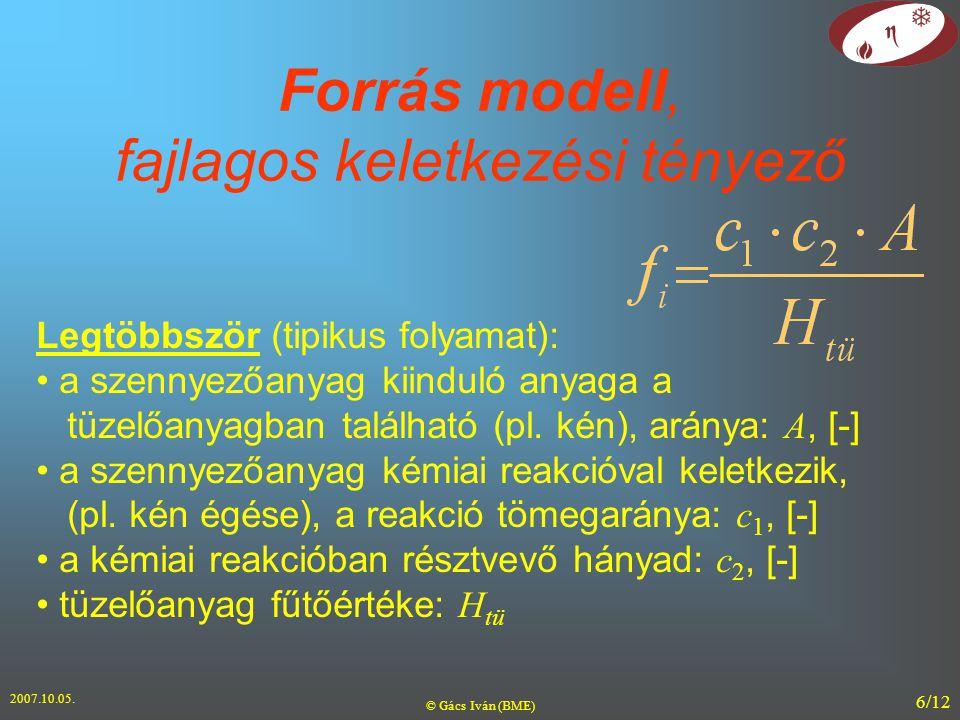 2007.10.05. © Gács Iván (BME) 6/12 Forrás modell, fajlagos keletkezési tényező Legtöbbször (tipikus folyamat): a szennyezőanyag kiinduló anyaga a tüze