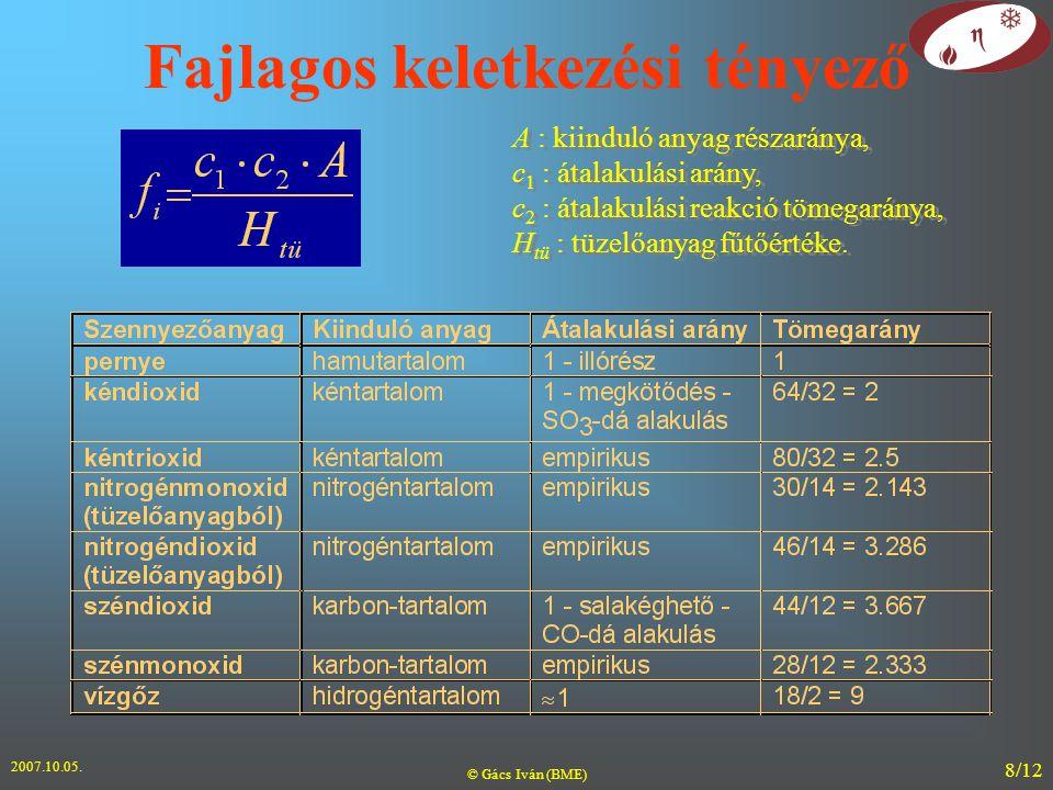 2007.10.05. © Gács Iván (BME) 8/12 Fajlagos keletkezési tényező A : kiinduló anyag részaránya, c 1 : átalakulási arány, c 2 : átalakulási reakció töme