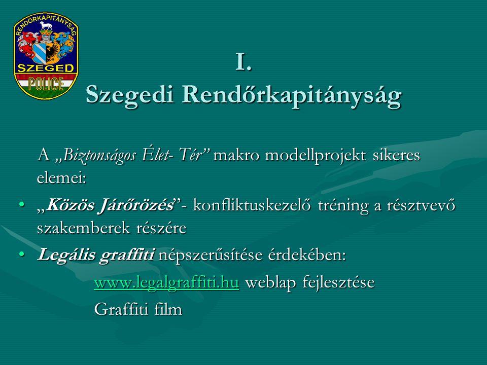"""I. Szegedi Rendőrkapitányság A """"Biztonságos Élet- Tér"""" makro modellprojekt sikeres elemei: A """"Biztonságos Élet- Tér"""" makro modellprojekt sikeres eleme"""