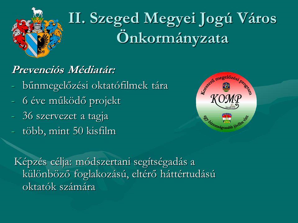 II. Szeged Megyei Jogú Város Önkormányzata Prevenciós Médiatár: -bűnmegelőzési oktatófilmek tára -6 éve működő projekt -36 szervezet a tagja -több, mi