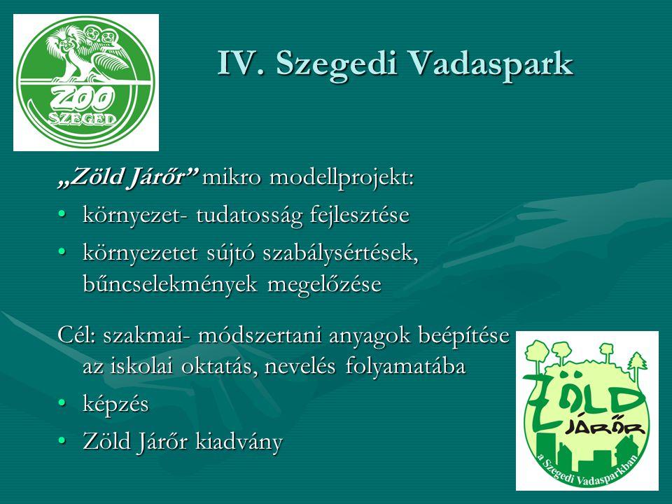 """IV. Szegedi Vadaspark """"Zöld Járőr"""" mikro modellprojekt: környezet- tudatosság fejlesztésekörnyezet- tudatosság fejlesztése környezetet sújtó szabálysé"""