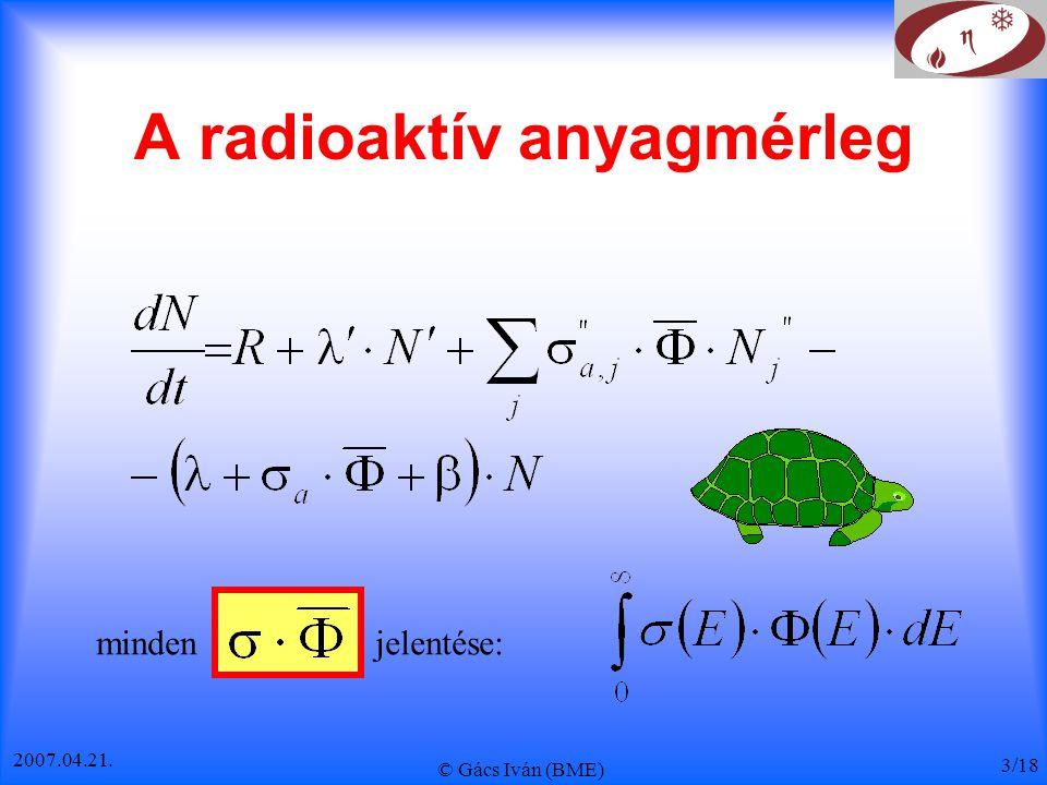 2007.04.21. © Gács Iván (BME) 3/18 A radioaktív anyagmérleg minden jelentése: