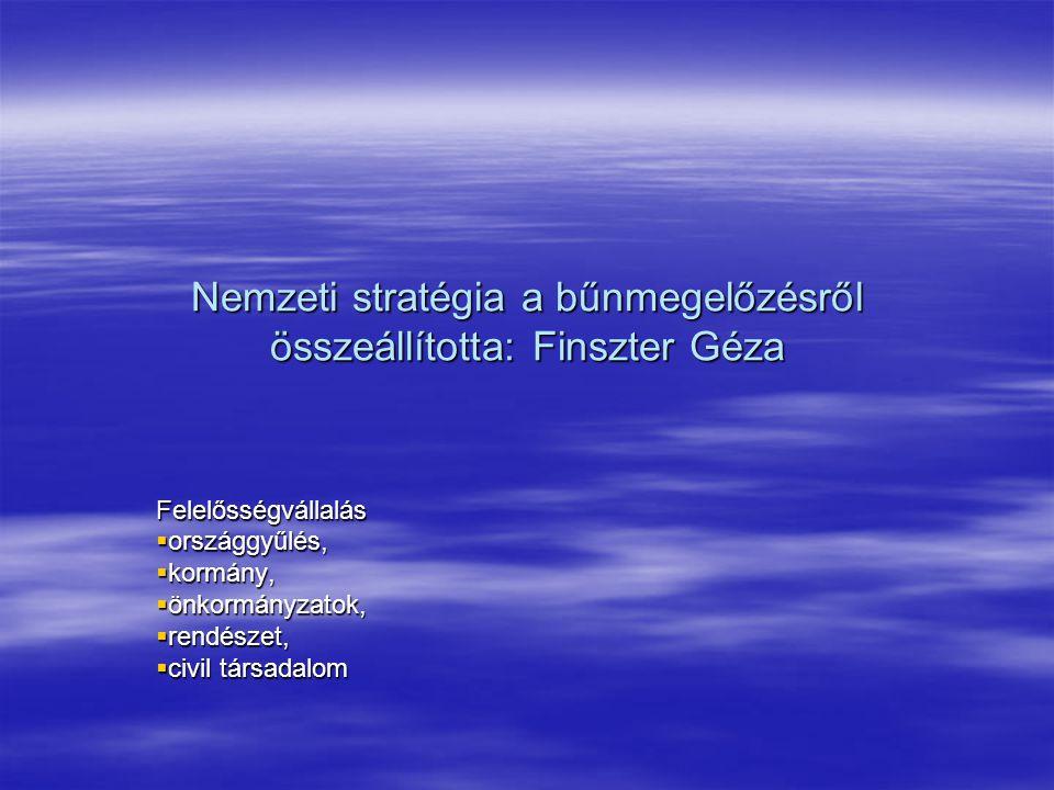 Nemzeti stratégia a bűnmegelőzésről összeállította: Finszter Géza Felelősségvállalás  országgyűlés,  kormány,  önkormányzatok,  rendészet,  civil