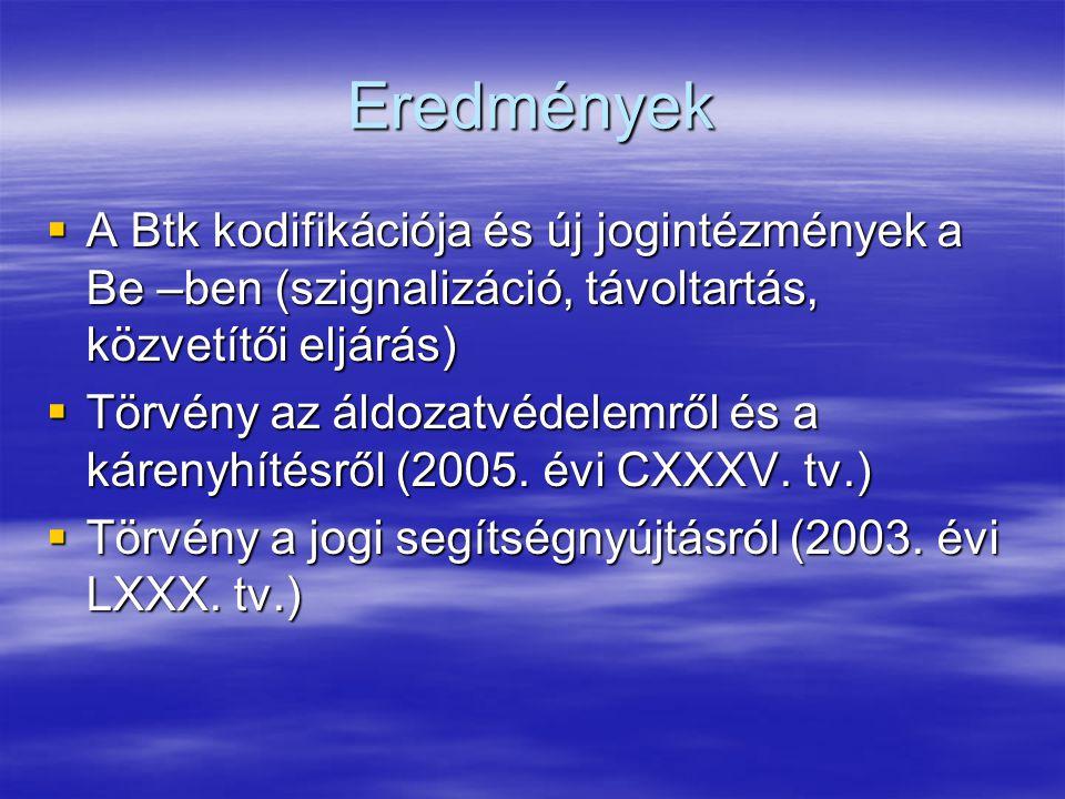 Eredmények  A Btk kodifikációja és új jogintézmények a Be –ben (szignalizáció, távoltartás, közvetítői eljárás)  Törvény az áldozatvédelemről és a kárenyhítésről (2005.