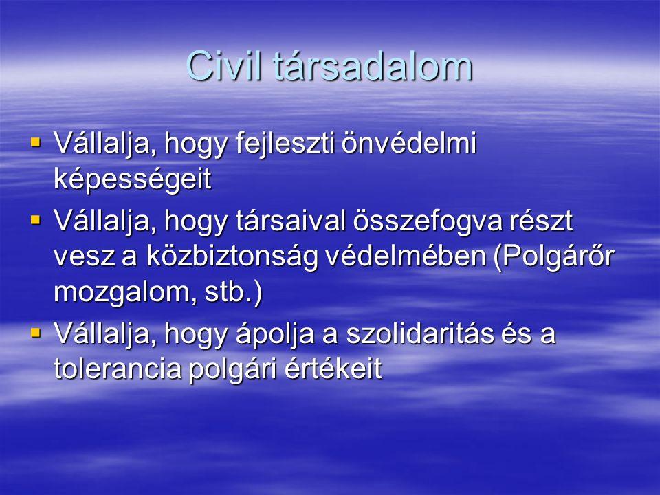 Civil társadalom  Vállalja, hogy fejleszti önvédelmi képességeit  Vállalja, hogy társaival összefogva részt vesz a közbiztonság védelmében (Polgárőr mozgalom, stb.)  Vállalja, hogy ápolja a szolidaritás és a tolerancia polgári értékeit