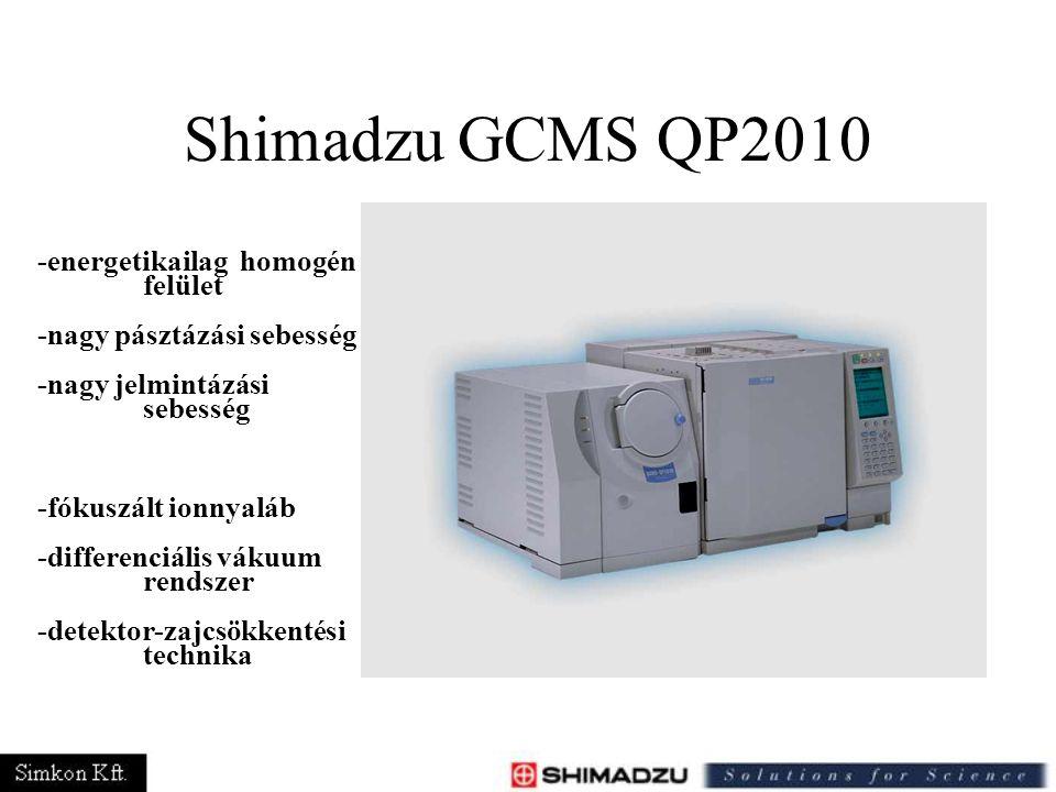 Shimadzu GCMS QP2010 -energetikailag homogén felület -nagy pásztázási sebesség -nagy jelmintázási sebesség -fókuszált ionnyaláb -differenciális vákuum