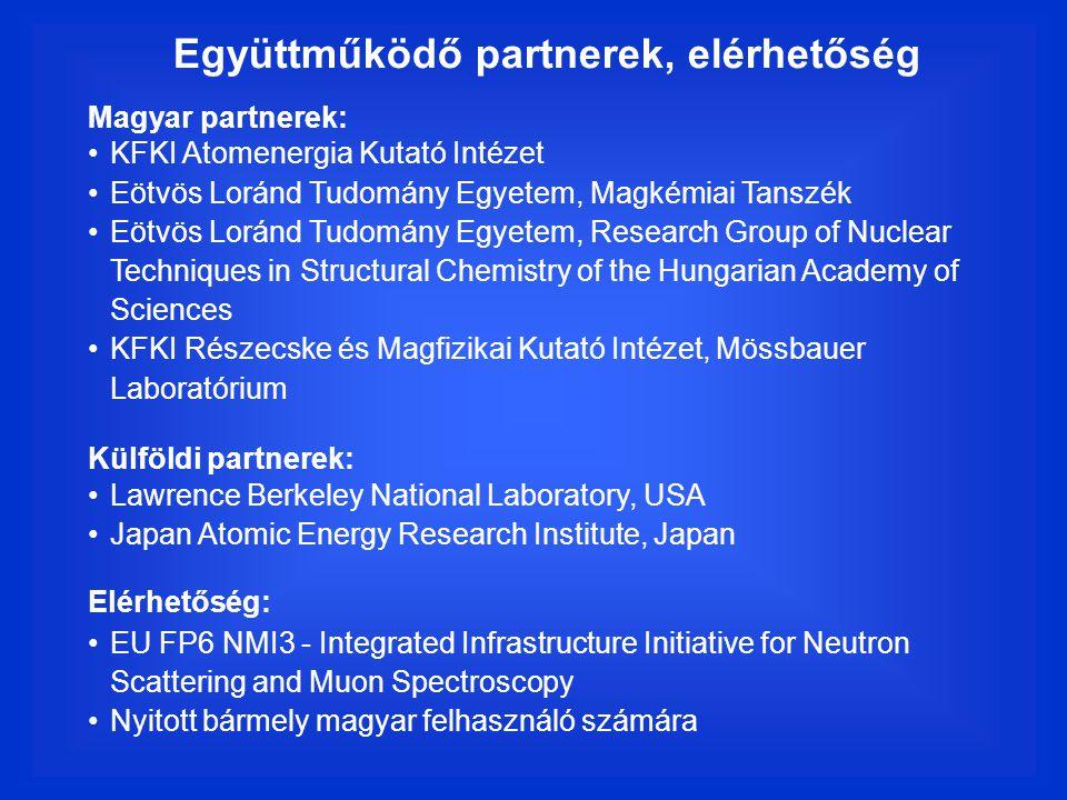 Együttműködő partnerek, elérhetőség Magyar partnerek: KFKI Atomenergia Kutató Intézet Eötvös Loránd Tudomány Egyetem, Magkémiai Tanszék Eötvös Loránd Tudomány Egyetem, Research Group of Nuclear Techniques in Structural Chemistry of the Hungarian Academy of Sciences KFKI Részecske és Magfizikai Kutató Intézet, Mössbauer Laboratórium Külföldi partnerek: Lawrence Berkeley National Laboratory, USA Japan Atomic Energy Research Institute, Japan Elérhetőség: EU FP6 NMI3 - Integrated Infrastructure Initiative for Neutron Scattering and Muon Spectroscopy Nyitott bármely magyar felhasználó számára