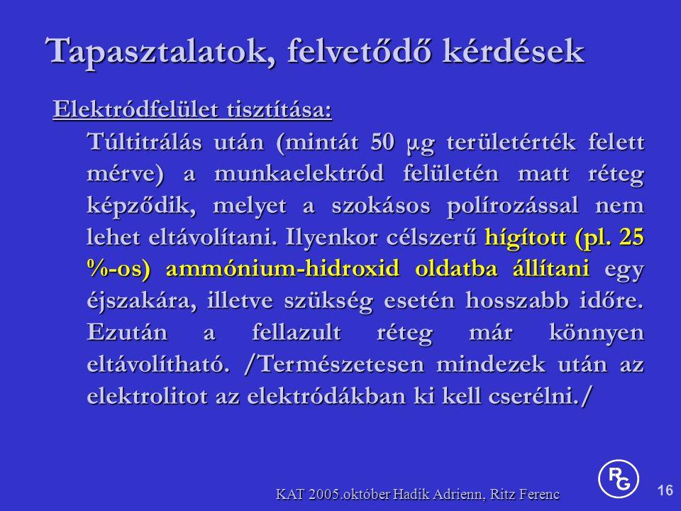 16 KAT 2005.október Hadik Adrienn, Ritz Ferenc Tapasztalatok, felvetődő kérdések Elektródfelület tisztítása: Túltitrálás után (mintát 50 μg területérték felett mérve) a munkaelektród felületén matt réteg képződik, melyet a szokásos polírozással nem lehet eltávolítani.