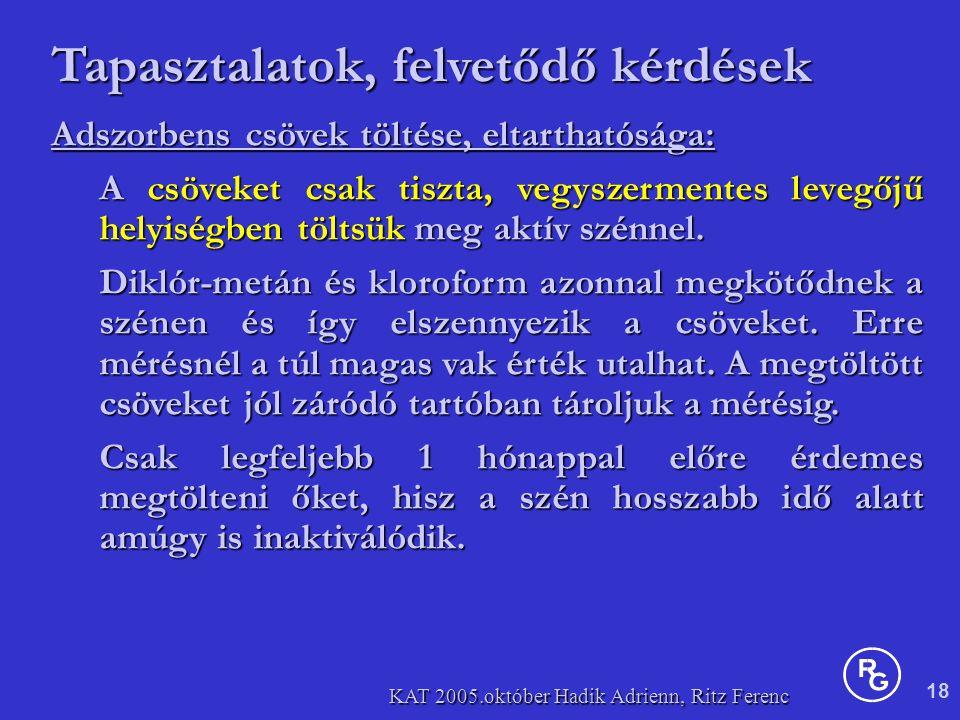 18 KAT 2005.október Hadik Adrienn, Ritz Ferenc Adszorbens csövek töltése, eltarthatósága: A csöveket csak tiszta, vegyszermentes levegőjű helyiségben töltsük meg aktív szénnel.