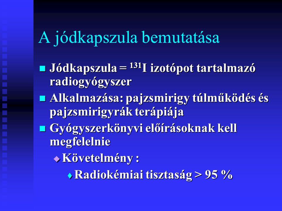 A jódkapszula bemutatása Jódkapszula = 131 I izotópot tartalmazó radiogyógyszer Jódkapszula = 131 I izotópot tartalmazó radiogyógyszer Alkalmazása: pa