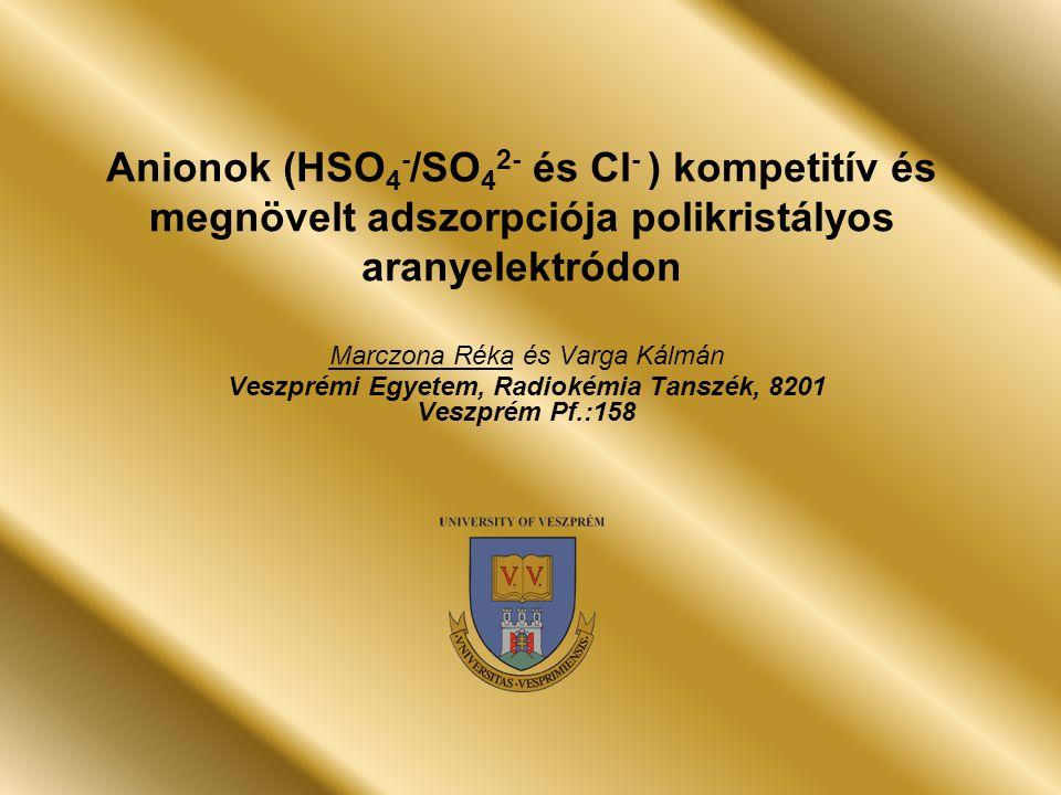 Anionok (HSO 4 - /SO 4 2- és Cl - ) kompetitív és megnövelt adszorpciója polikristályos aranyelektródon Marczona Réka és Varga Kálmán Veszprémi Egyetem, Radiokémia Tanszék, 8201 Veszprém Pf.:158