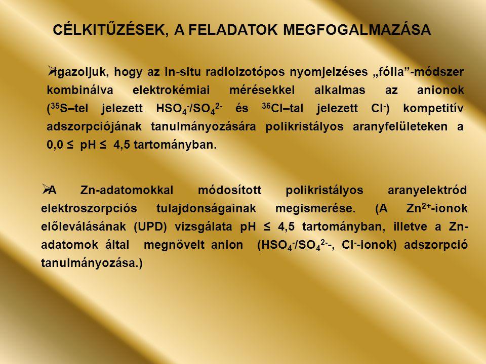 """CÉLKITŰZÉSEK, A FELADATOK MEGFOGALMAZÁSA  Igazoljuk, hogy az in-situ radioizotópos nyomjelzéses """"fólia -módszer kombinálva elektrokémiai mérésekkel alkalmas az anionok ( 35 S–tel jelezett HSO 4 - /SO 4 2- és 36 Cl–tal jelezett Cl - ) kompetitív adszorpciójának tanulmányozására polikristályos aranyfelületeken a 0,0 ≤ pH ≤ 4,5 tartományban."""
