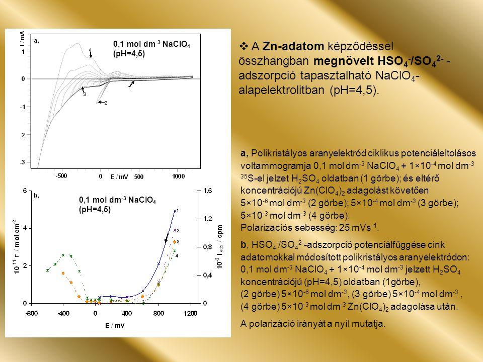 a, Polikristályos aranyelektród ciklikus potenciáleltolásos voltammogramja 0,1 mol dm -3 NaClO 4 + 1×10 -4 mol dm -3 35 S-el jelzet H 2 SO 4 oldatban (1 görbe); és eltérő koncentrációjú Zn(ClO 4 ) 2 adagolást követően 5×10 -6 mol dm -3 (2 görbe); 5×10 -4 mol dm -3 (3 görbe); 5×10 -3 mol dm -3 (4 görbe).