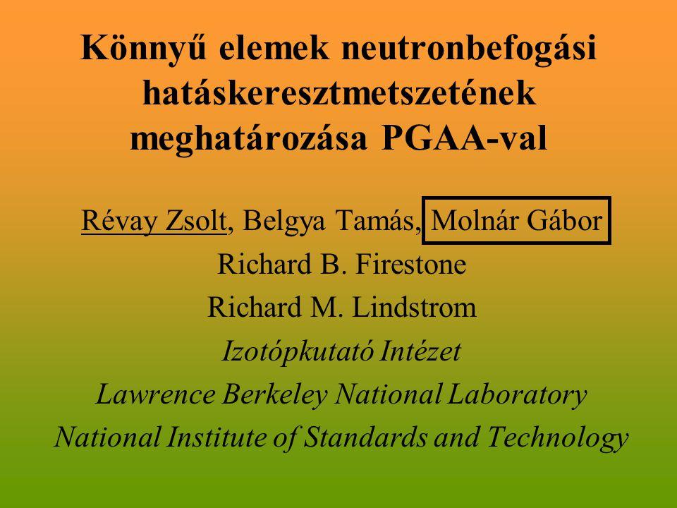 Könnyű elemek neutronbefogási hatáskeresztmetszetének meghatározása PGAA-val Révay Zsolt, Belgya Tamás, Molnár Gábor Richard B. Firestone Richard M. L
