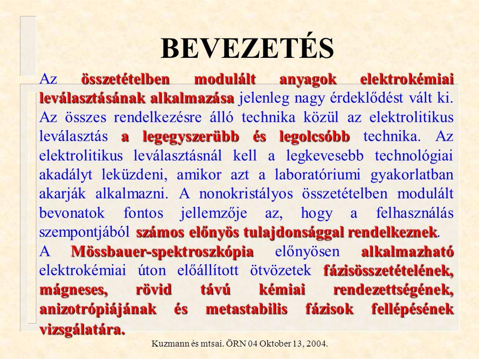 Kuzmann és mtsai. ÖRN 04 Oktober 13, 2004. BEVEZETÉS összetételben modulált anyagok elektrokémiai leválasztásánakalkalmazása a legegyszerübb és legolc