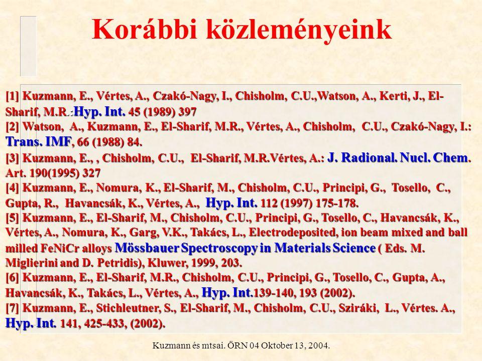 Kuzmann és mtsai. ÖRN 04 Oktober 13, 2004. Korábbi közleményeink [1] Kuzmann, E., Vértes, A., Czakó-Nagy, I., Chisholm, C.U.,Watson, A., Kerti, J., El