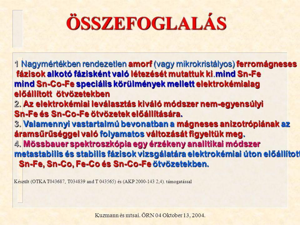 Kuzmann és mtsai. ÖRN 04 Oktober 13, 2004. ÖSSZEFOGLALÁS 1 Nagymértékben rendezetlen amorf (vagy mikrokristályos) ferromágneses fázisok alkotó fáziské